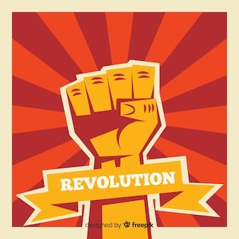Composición clásica de revolución con puño en alto