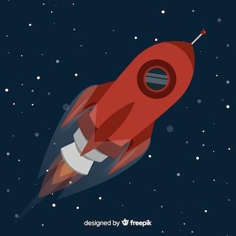 Composición de cohete moderno con diseño plano