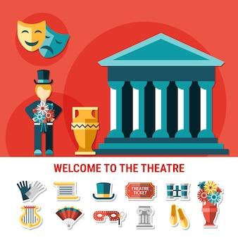 Composición de color plano de teatro con conjunto de iconos aislados combinado en bienvenida a la ilustración de vector de volante de teatro
