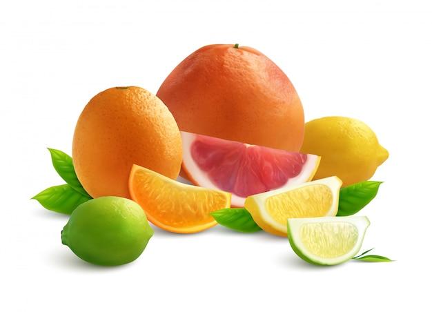 Composición de color realista de cítricos con rodajas de toronja lyme naranja y limón sobre fondo blanco.