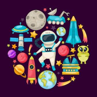 Composición coloreada del espacio