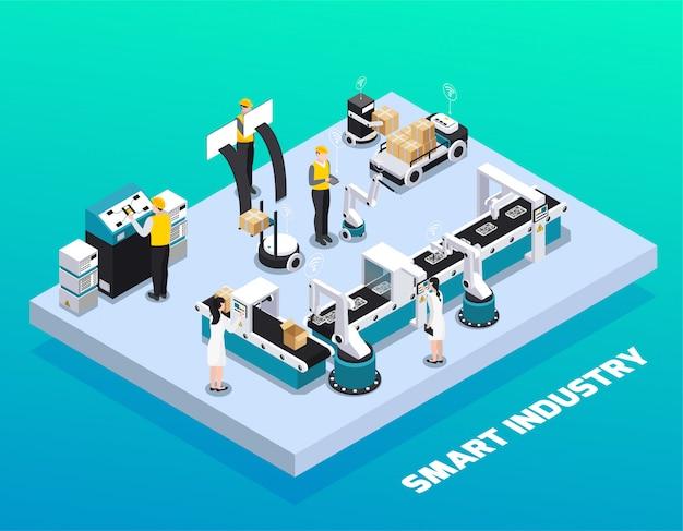 Composición coloreada de la industria inteligente isométrica con producción y empaque en la ilustración de vector de fábrica inteligente