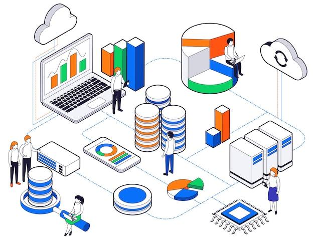 Composición coloreada isométrica del análisis de la ciencia de big data con pasos relacionados para la creación de redes