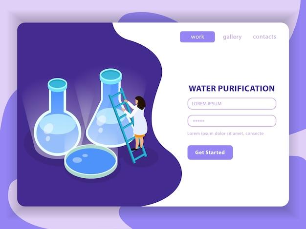 Composición coloreada isométrica de purificación de agua con el botón de purificación de agua para comenzar y la ilustración del formulario de registro