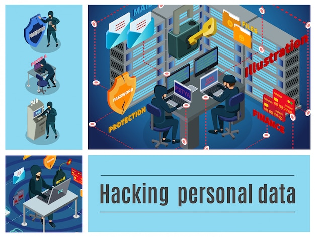Composición colorida de la actividad hacker isométrica con servidores de computadora, centro de datos de correo atm, piratería de delitos cibernéticos financieros