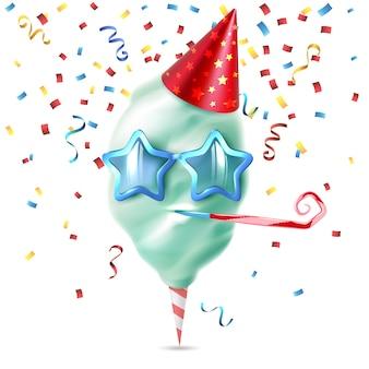 Composición colorida de algodón de azúcar de caramelo realista con piezas de confeti festivo y sombrero de cumpleaños en la ilustración de vector en blanco