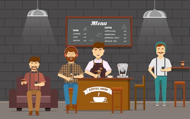 Composición colorida con amigos hipsters personajes de dibujos animados planos en la cafetería chateando en dispositivos inteligentes