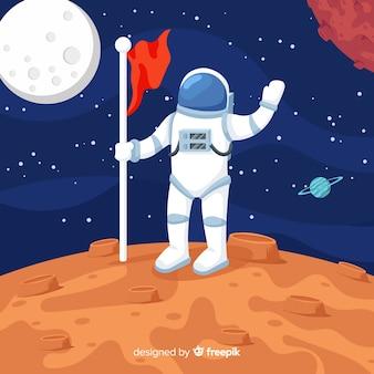 Composición colorida de astronauta con diseño plano