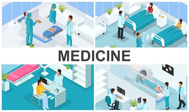 Composición colorida de atención médica isométrica con médicos visita paciente en hospital sala cirugía consulta médica tomografía de resonancia magnética