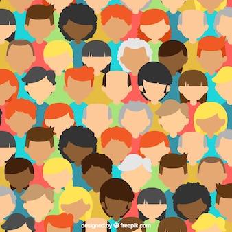 Composición colorida con cabezas de gente