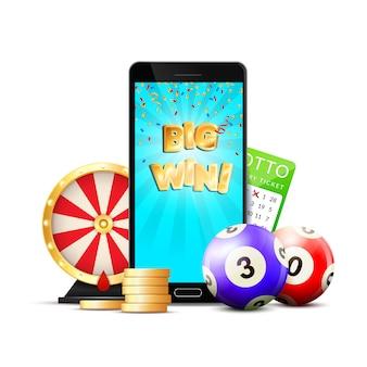 Composición colorida del casino de lotería en línea
