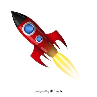 Composición colorida de cohete con diseño plano