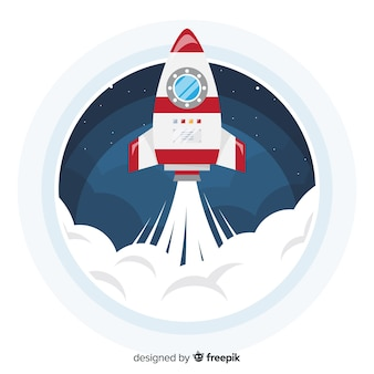 Composición colorida de cohete espacial con diseño plano