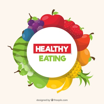 Composición colorida con comida sana