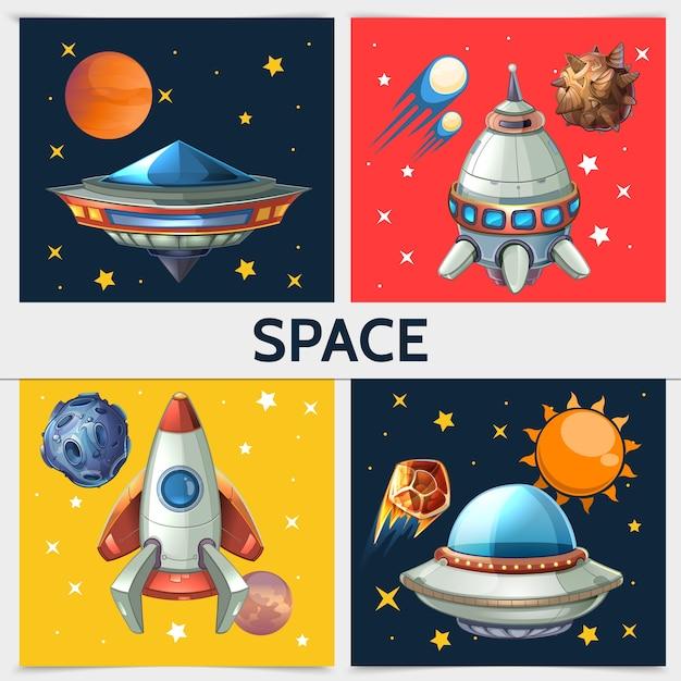 Composición colorida del cuadrado del espacio con la nave espacial del cohete ovni planetas del sol asteroides meteoros cometas