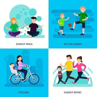 Composición colorida del cuadrado de la familia del deporte