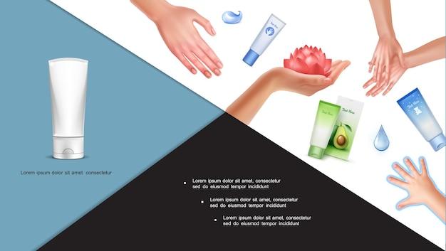 Composición colorida para el cuidado de la piel con hermosas manos de bebé y mujer flor de loto gotas de agua tubos cosméticos de crema en estilo realista