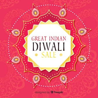 Composición colorida de rebajas de diwali dibujada a mano