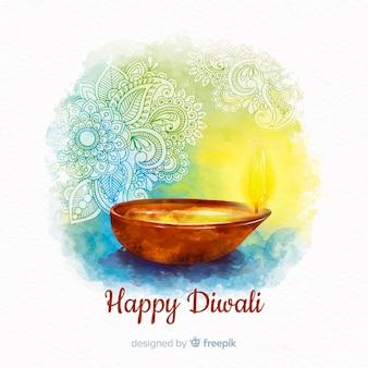Composición colorida de diwali en acuarela