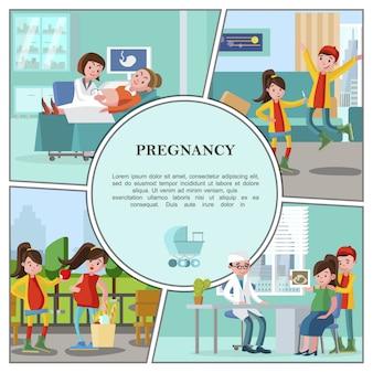Composición colorida del embarazo plano con mujeres embarazadas llevan un estilo de vida saludable visita al hospital para control médico padre feliz aprendiendo sobre el embarazo de su esposa
