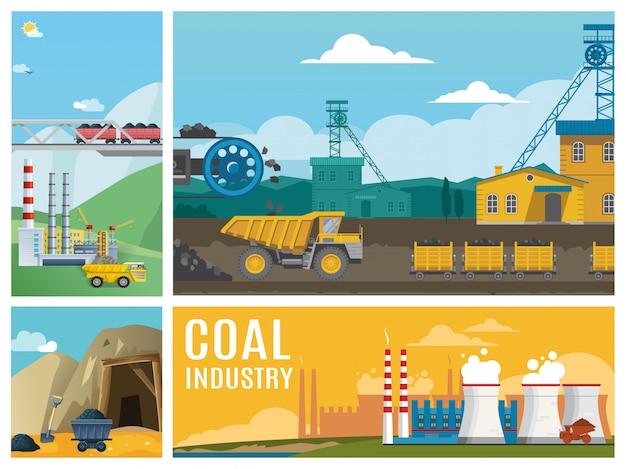 Composición colorida de la industria del carbón plano con camiones volquetes, plantas industriales, chimeneas, productos, transporte y entrada a la mina.