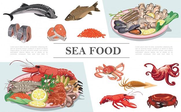 Composición colorida de mariscos planos con langosta cangrejo calamar pulpo pescado caviar mejillones ostras vieiras esturión lucioperca carne de trucha