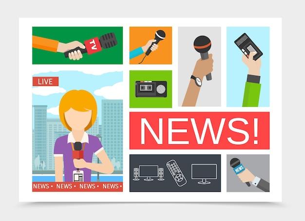 Composición colorida de noticias planas