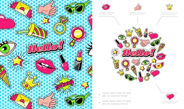 Composición colorida de parches de moda con labios de helado corona anteojos letra alada pulgar arriba gesto de mano anillo cóctel corazón lápiz labial