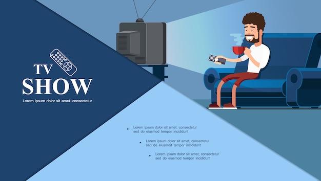 Composición colorida del programa de televisión plana