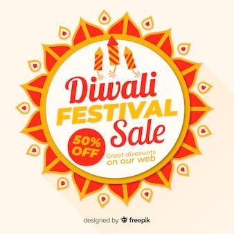Composición colorida de rebajas de diwali con diseño plano