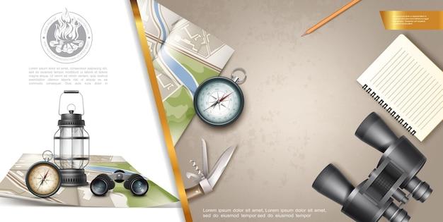 Composición colorida de recreación al aire libre con binoculares, bloc de notas, brújula de navegación, lápiz, cuchillo, linterna, mapa en ilustración de estilo realista