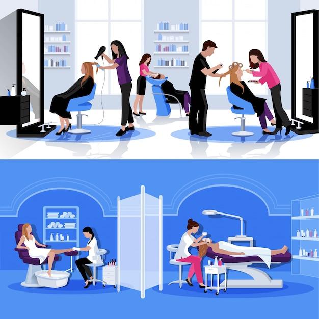 Composición colorida del salón de belleza con cosmetología de pedicure del corte de pelo