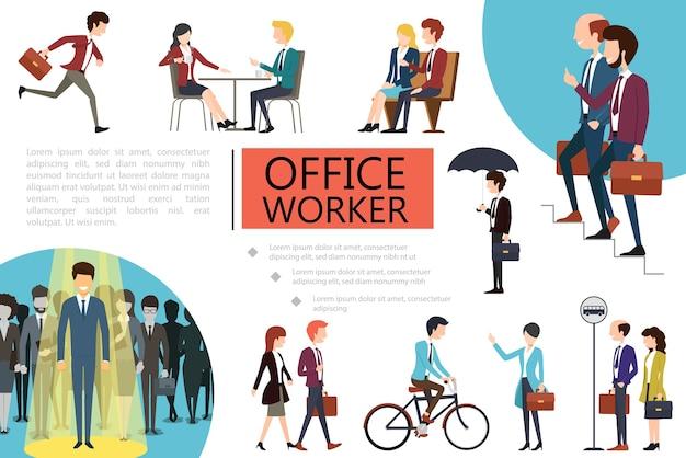 Composición colorida de los trabajadores de oficina plana