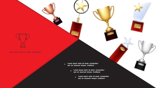 Composición colorida de trofeos y premios con copas de bronce dorado, plata y premios con estrellas en estilo realista