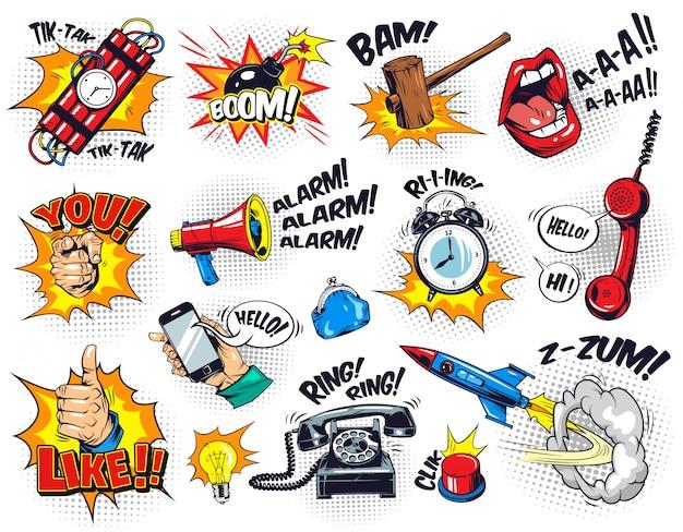 Composición cómica de elementos brillantes con redacción de burbujas de discurso