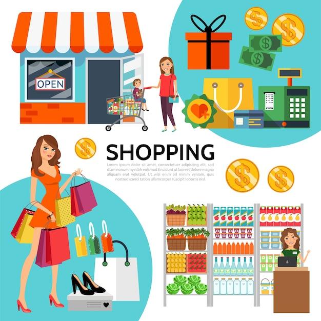 Composición de compras plana