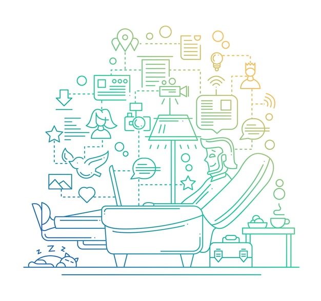 Composición de comunicación de internet de diseño plano de línea moderna y con hombre descansando - degradado de color