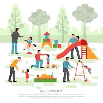 Composición de la comunidad de dad de niños