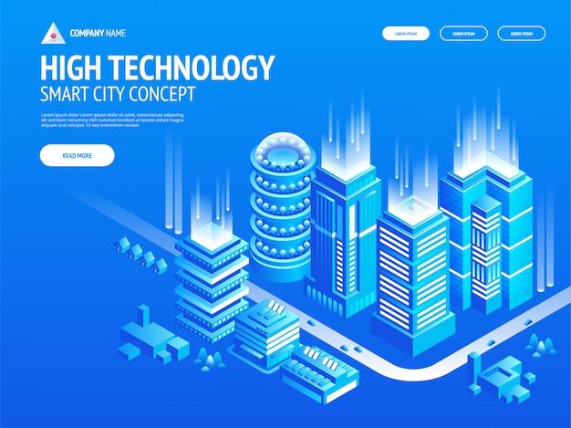 Composición del concepto de alta tecnología con ciudad inteligente