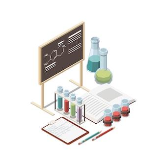 Composición del concepto isométrico de educación de vástago con tubos de ensayo y pizarra con ilustración de fórmula química