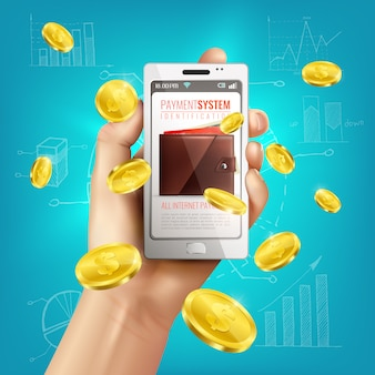 Composición conceptual de billetera realista con teléfono inteligente en mano humana y monedas de oro con bocetos financieros