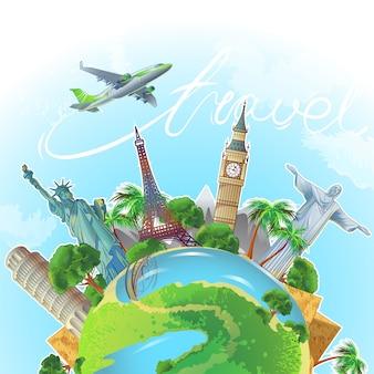 Composición conceptual cuadrada con globo terráqueo con enormes vistas, torres, estatuas, árboles y aviones