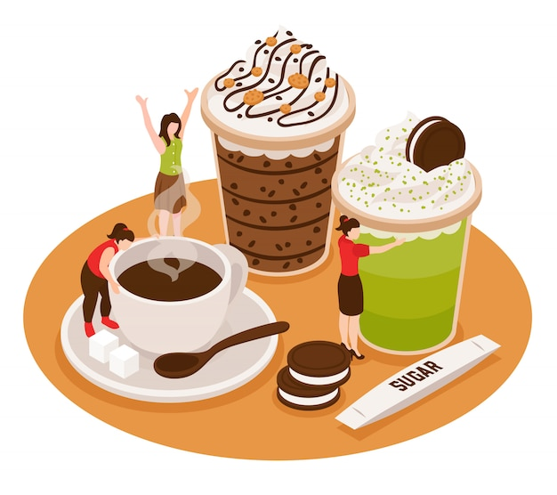 Composición conceptual isométrica de barista de café con tazas de café y postres con personajes de personas pequeñas
