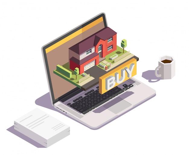 Composición conceptual isométrica de edificios suburbios con imágenes de elementos de escritorio del espacio de trabajo y computadora portátil con casa villa