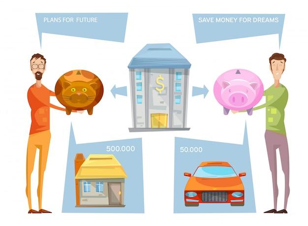 Composición conceptual de los objetivos financieros con dos personajes masculinos que aún sostienen bancos con pensamiento bub