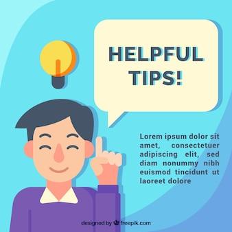 Composición de consejos útiles con diseño plano