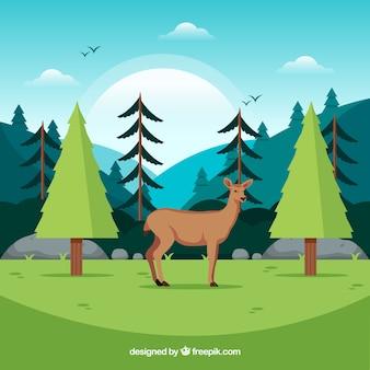 Composición de conservación de ecosistema con ciervo adorable