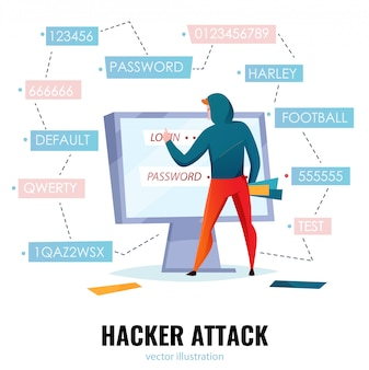 Composición de contraseña de pirata informático con título de ataque de pirata informático y el hombre hace que la contraseña adivine la ilustración