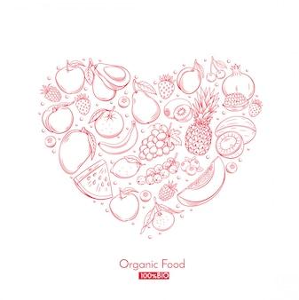 Composición del corazón del cartel con frutas dibujadas a mano