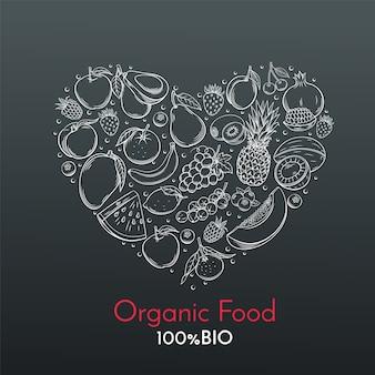 Composición del corazón con frutas dibujadas a mano